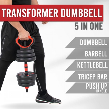 [FREE SHIPPING] 5 in 1 Dumbbell Set with Kettlebell Handle Bar ( 20kg / 30kg / 40kg)