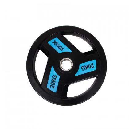 XCORE Premium Olympic Tri-Grip Rubberised Weight Plate 20kg